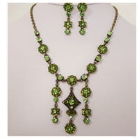 Beautiful Luxury Lime Green Austrian Crystal Necklace Set