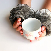 Fingerless Gloves: Hand  Knit elegant ruffled gray gloves, frilly gloves gray grey