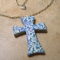 French Blue Byzantine Lace Cross Pendant Necklace