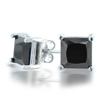 Bling Jewelry Mens 925 Sterling Silver CZ Basket Set Princess Cut Black Stud Earrings 7mm