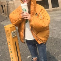 """""""Adidas"""" Women Simple Fashion Zip Cardigan Hooded Long Sleeve Thickened Cotton-padded Clothes Coat"""