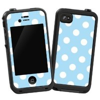 """White Polkadot on Baby Blue """"Protective Decal Skin"""" for LifeProof iPhone 4/4S..."""
