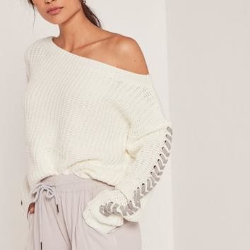 Missguided - White Off The Shoulder Lace Up Cropped Sweater