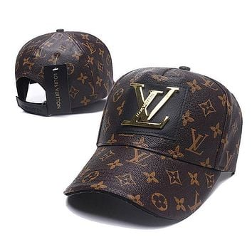LV (Louis Vuitton) handmade leather caps men and women outdoor sports sunshade hat baseball cap