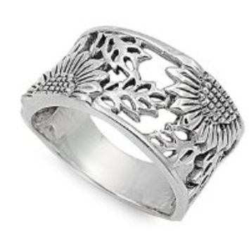 Sunflower Filigree Ring Sterling Silver 925 Size 8