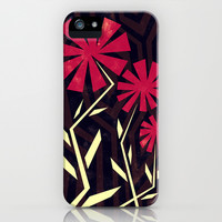 Red flowers on wood iPhone & iPod Case by Yetiland
