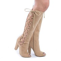 Laurent-s By Shoe Republic, Knee High Lace Up Peep Toe Block High Heel Boots