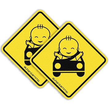 Ethan & Emma Baby On Board Sticker for Cars - See-Thru Safety Stickers - Unobstructed View, Removable and Will Not Fade - Stays On, Works with Tinted Window - Two Stickers Per Pack