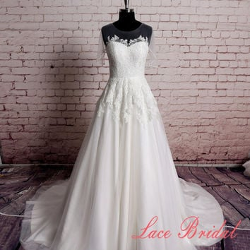 Custom,Wedding Gown, Classic Lace Bridal Gown, Transparent Train Wedding Dress, Wedding Dress,Wedding Gown