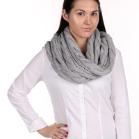 Grey Cable Knit Infinity Scarf