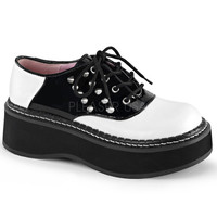 Demonia Lace Up Two Inch Saddle Shoes