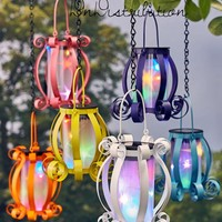 Solar Lantern Colorful Scroll Multicolored Lights Hanging or Tabletop Yard Patio