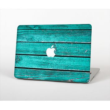 """The Trendy Green Washed Wood Planks Skin Set for the Apple MacBook Pro 13"""" with Retina Display"""