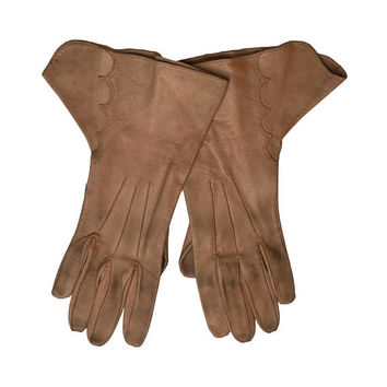 Leather 1930's Gloves | 1930's Tan Leather Driving Gloves | Ladies' Vintage Gloves