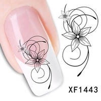 2017 Fashion Beautiful DIY Nail Designs Watermark Cute Black Flower 3D Design Tip Nail Art Nail Stickers Decal Manicure Sticker