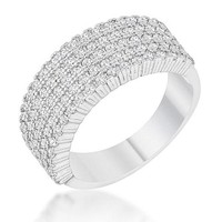 Gwen 1ct CZ White Gold Rhodium Wide Ring