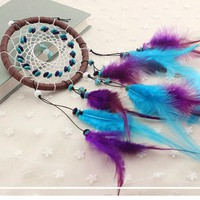 Turquoise Dreamcatcher With Beads Feather Car Mirror Ornament