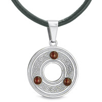 Amulet Celtic Triquetra Knot Magic Circle Medallion Protection Powers Pendant on 18 Inch Leather Necklace