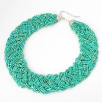 Fashion Golden Tone Chain Water Drop Olivary Colorful Resin Beads Pendant Bib Necklace