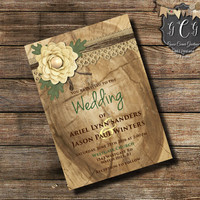 Rustic Wood and Lace Invitation, Country Wood and Lace invitation, Wood and Lace invitations, Printable Wedding Invitations ,Cream and Green