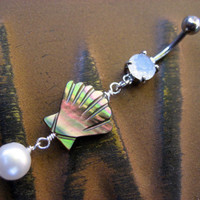 Pearl Shell Belly Button Jewelry Ring Piercing Oyster Clam Paua Abalone Long Charm Dangle Opal Navel Bar Barbell