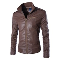 Leather Jacket: Men Business Casual Coat