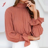 Fashion slim Chiffon Blouse 2017 Womens Sexy Turtleneck blouse Ladies Casual Long Sleeve  Shirt Tops Casual Holiday Blouses
