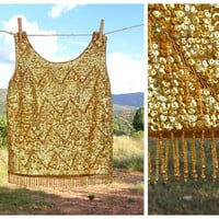 1960's Chevron Gold Sequin Beaded Top. Fringe Tank. Sleeveless. Mod. Mad Men. Flapper. Small S