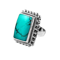 """SR-6366-TQ-9"""" Sterling Silver Ring With Turquoise"""