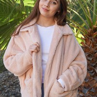 Make A Statement Beige Faux Fur Collar Jacket