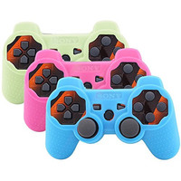 Super Anti-slip Silicone Case Skin Protector Cover for Playstation 3 PS3 Wireless Game Controller (3 Colors Package)