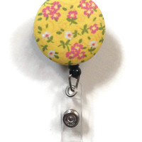 Fabric Covered Retractable Badge Reel Yellow and Pink Floral Keychain Lanyard