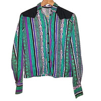 Vintage South Western Southwest Crop Top Long Sleeve Shirt Button Up Aztec Cowgirl Colors Green Purple White Black