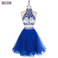Royal Blue 2 Pieces Short Prom Dress Sexy Beaded Homecoming Dresses Halter Green Robe De Cocktail 2018