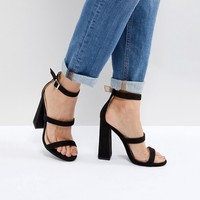 Public Desire Black Oyster Triple Strap Sandals at asos.com