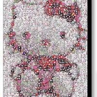 Framed Hello Kitty buttons mosaic 9X11 inch Limited Edition Art Print w/COA
