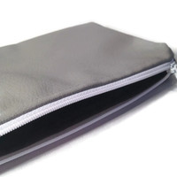 Faux Leather Zipper Pouch, Grey Leather Bag, Simple Clutch, Grey Clutch Bag, Leather Clutch,Stocking Stuffer, Gift for Her