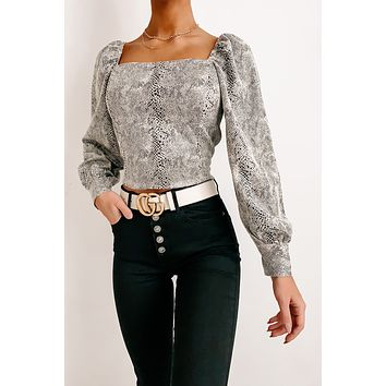 Ready To Strike Faux Suede Snake Top (Stone)