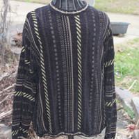 Baracuta Canada Tundra Black Brown Comfy Soft Cosby Sweater Men's Sz XLarge