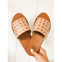 Stay Studded Sandals- Blush