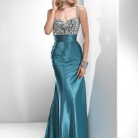 Vintage Teal Satin Beaded Empire Waist Prom Dress - Unique Vintage - Cocktail, Pinup, Holiday & Prom Dresses.