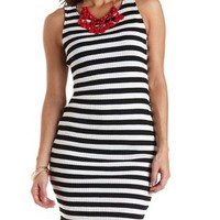 Ribbed & Striped Midi Tank Dress by Charlotte Russe