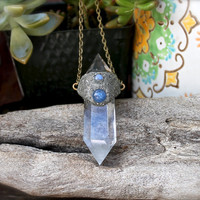Clear Crystal Necklace - Crystal Quartz Jewelry - Crushed Pyrite, Moonstone & Kyanite Necklace - Wiccan Jewelry - Gypsy Bohemian Necklace