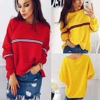 Hot Sale Red Yellow Long Sleeve Tee T-shirts