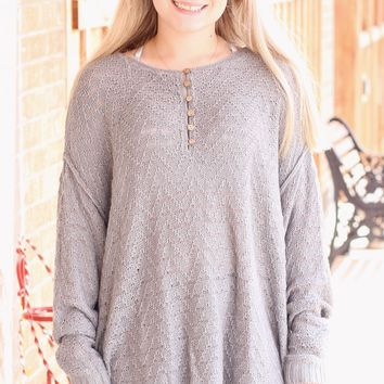 {Grey} Button Me Oversized Knit Sweater - Size LARGE