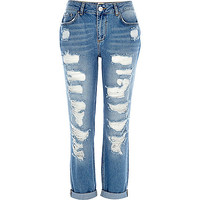 River Island Womens Mid wash ripped ultimate boyfriend jeans