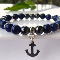 Men's Lapis Lazuli and Hematite bracelet, Water Anchor Bracelet, Men's Gemstone Bracelet, Protection Bracelet, Blue Bracelet, FREE SHIPPING