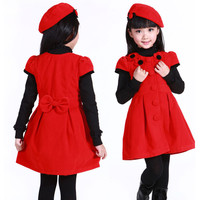 Hot Sale 2015 New spring autumn winter dress girl Kids Toddlers dress,Short Sleeve Dress+Cap girls clothing princess 2pcs 2-12Y