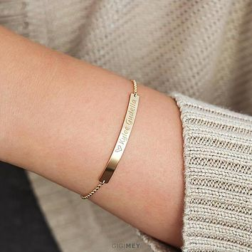 Bar bracelet, sterling silver or gold filled •
