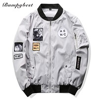 Men Bomber Jacket Hip Hop Patch Designs Slim Fit Pilot Bomber Jacket Coat Men Jackets